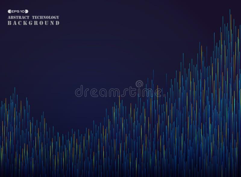步在梯度蓝色和橙色线样式背景的未来派抽象 库存例证
