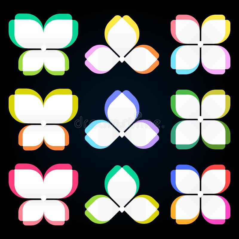 步处理diagramInfographics,五颜六色花的蝴蝶,公司业务介绍的理想 皇族释放例证