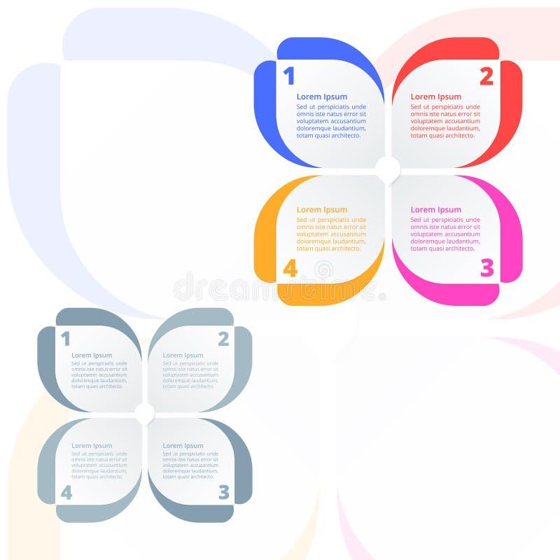 步处理diagramInfographics,五颜六色花的蝴蝶,公司业务介绍的理想 向量例证
