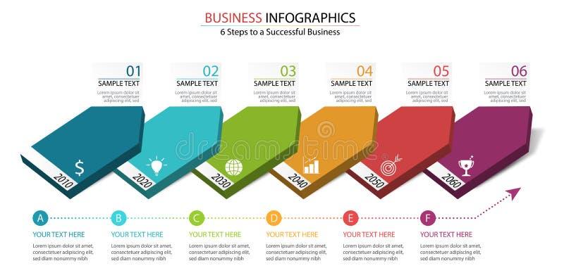 6步对成功的infographic设计在事务在企业数据多米诺图显示 免版税库存照片