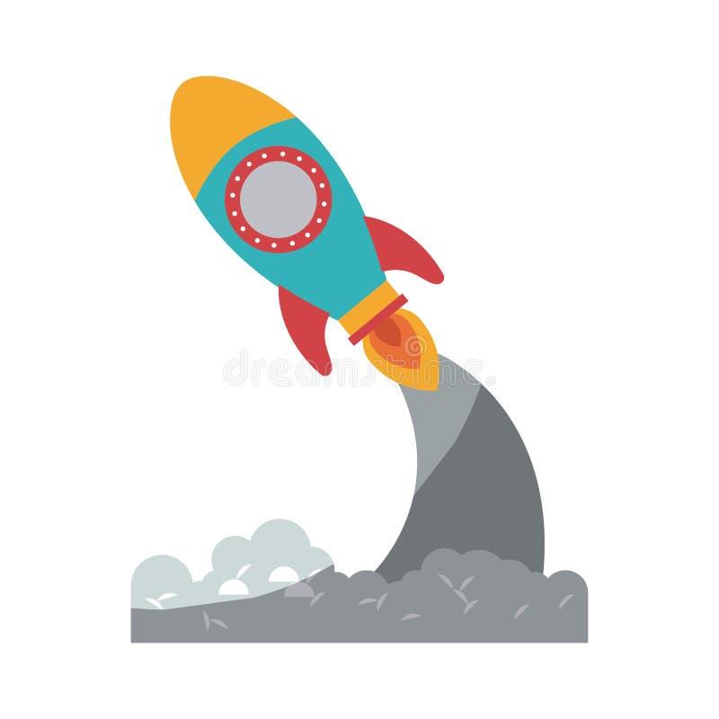 步幅没有等高和阴影的火箭发射五颜六色的剪影  向量例证