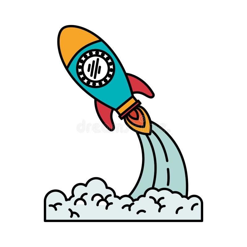 步幅火箭发射五颜六色的剪影  库存例证