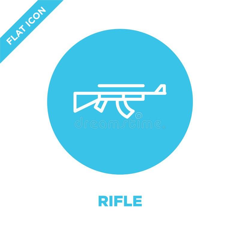 步枪从军事收藏的象传染媒介 稀薄的线步枪概述象传染媒介例证 线性标志为在网的使用和 向量例证