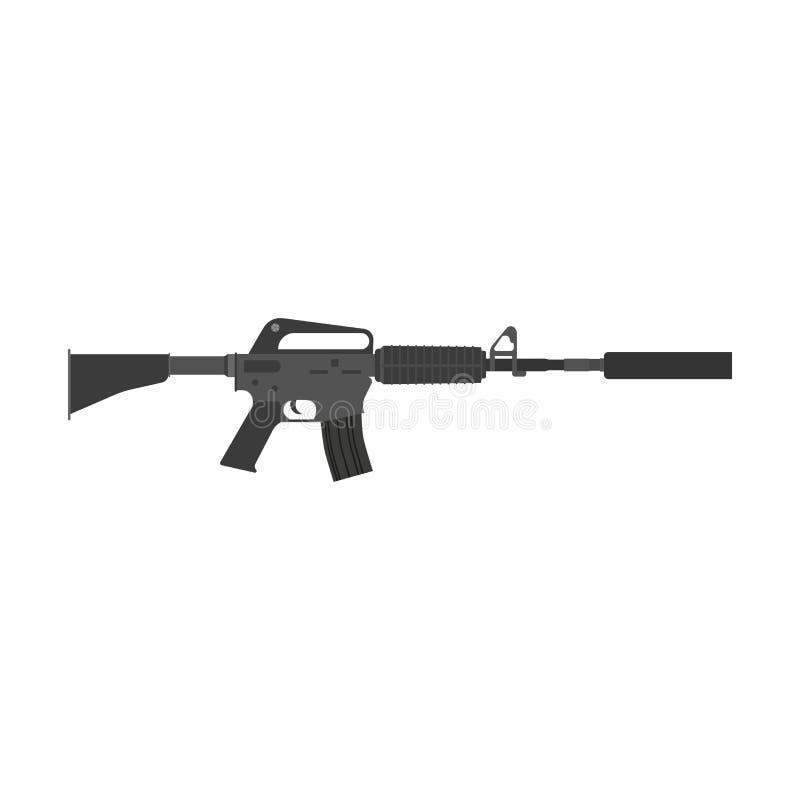 步枪传染媒介枪攻击武器军用战争例证遏声器 军队自动被隔绝的枪的狙击手 库存例证