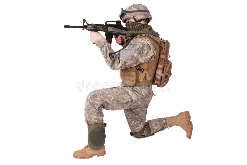 攻击步枪战士我们 库存图片
