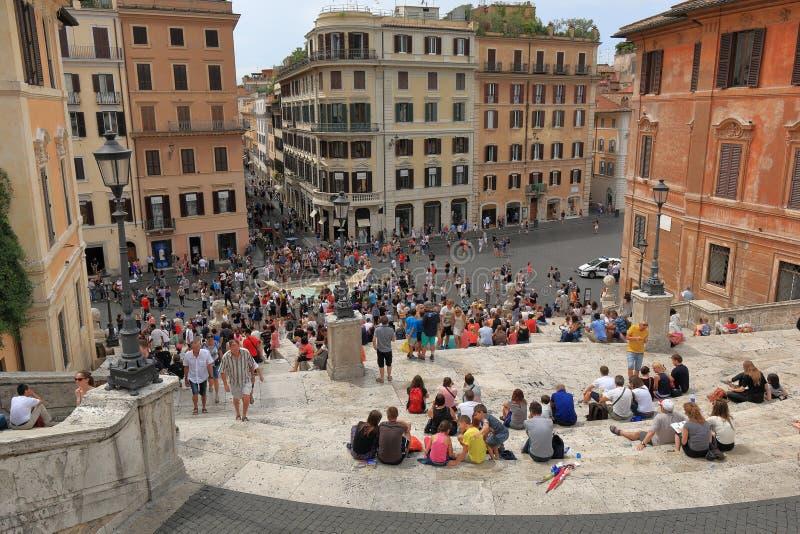 从步的看法在西班牙正方形在罗马 免版税库存图片