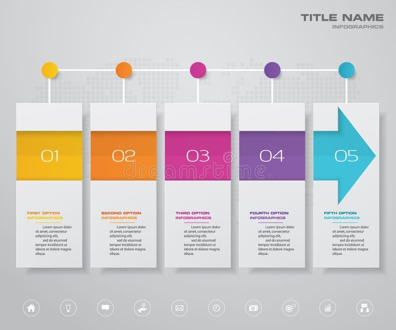 5步箭头infographics图设计元素 对数据显示 皇族释放例证