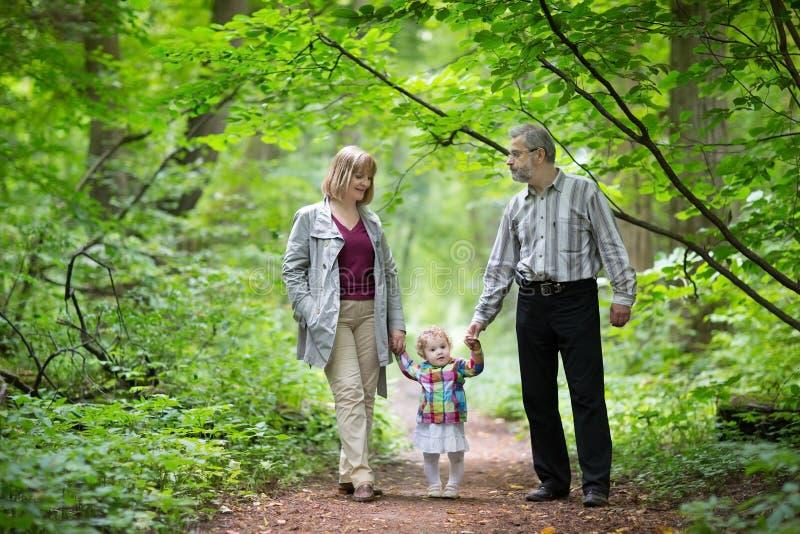 步行与他们的小型三角钢琴女儿的年轻祖父母 库存图片