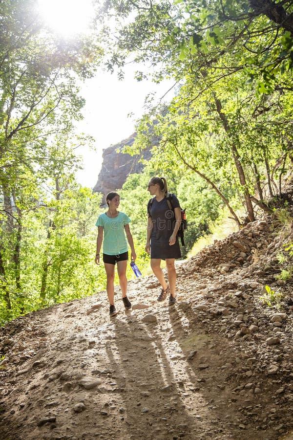 步行在一个风景山行迹的两名妇女互相谈话 库存照片