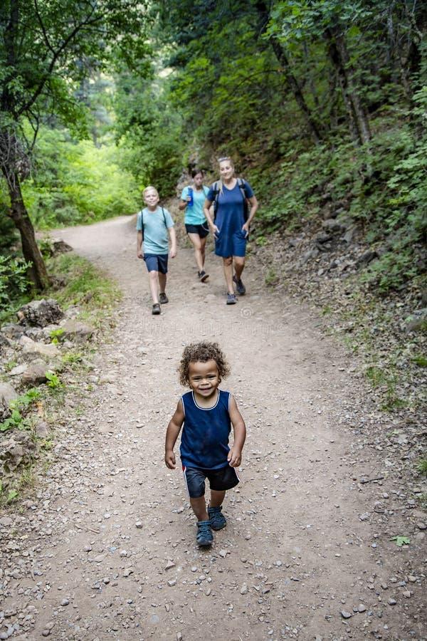 步行在一个风景山行迹的家庭互相谈话 免版税库存照片