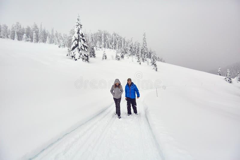 步行在一串多雪的足迹的朋友 库存图片