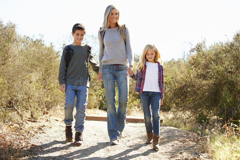 步行在乡下的母亲和孩子 库存照片