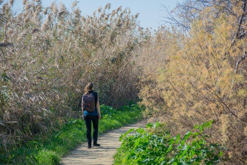 步行在公园拉纳卡,塞浦路斯,欧洲- 1月的妇女 30日2018年 免版税库存图片