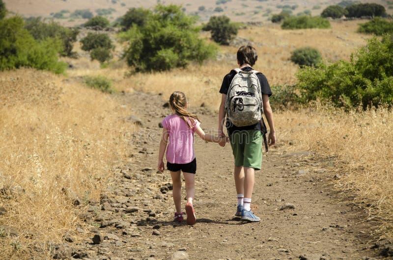 步行在公园的两个孩子 免版税库存图片