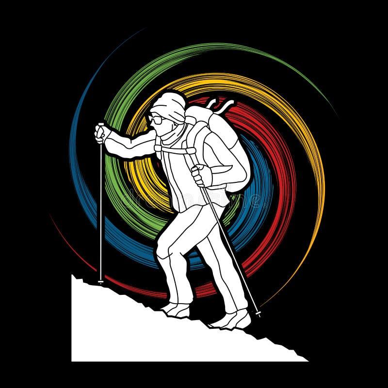 步行在山体育例证图表传染媒介的一个人 女演员, 冒险家, 背包, 挑运