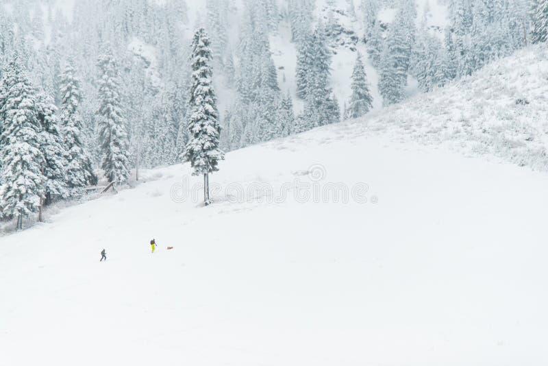 步行在山的人们与雪,华盛顿的早晨 免版税图库摄影