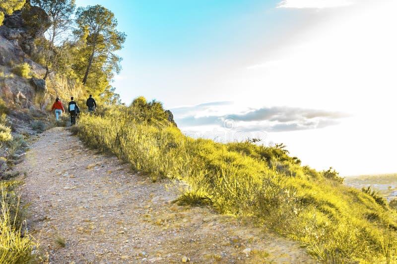 步行在山的朋友的格鲁普在日落 免版税库存照片