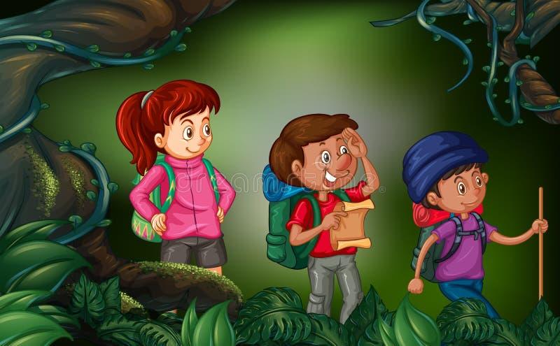 步行在森林的三个人 皇族释放例证