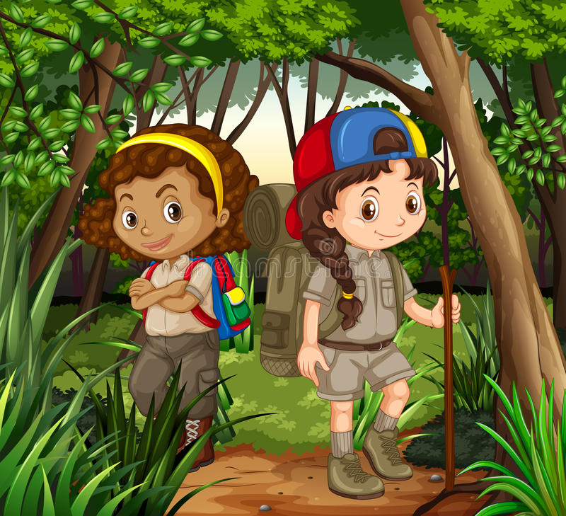 步行在森林的女孩 库存例证