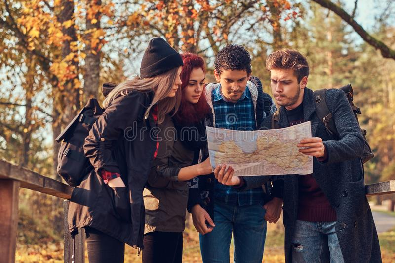 步行在秋天五颜六色的森林里,看地图和计划远足的小组年轻朋友 库存图片