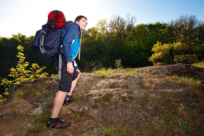 步行在道路的一个年轻人背包徒步旅行者在夏天期间 旅行 图库摄影