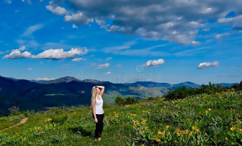步行在高山草甸的年轻白肤金发的妇女 库存照片