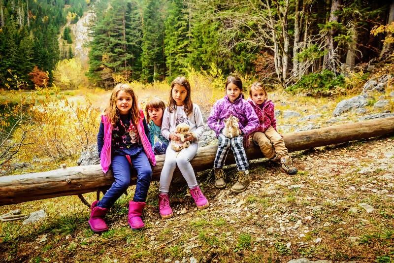 步行在黑湖(Crno jezero的小组女性学校朋友 库存照片