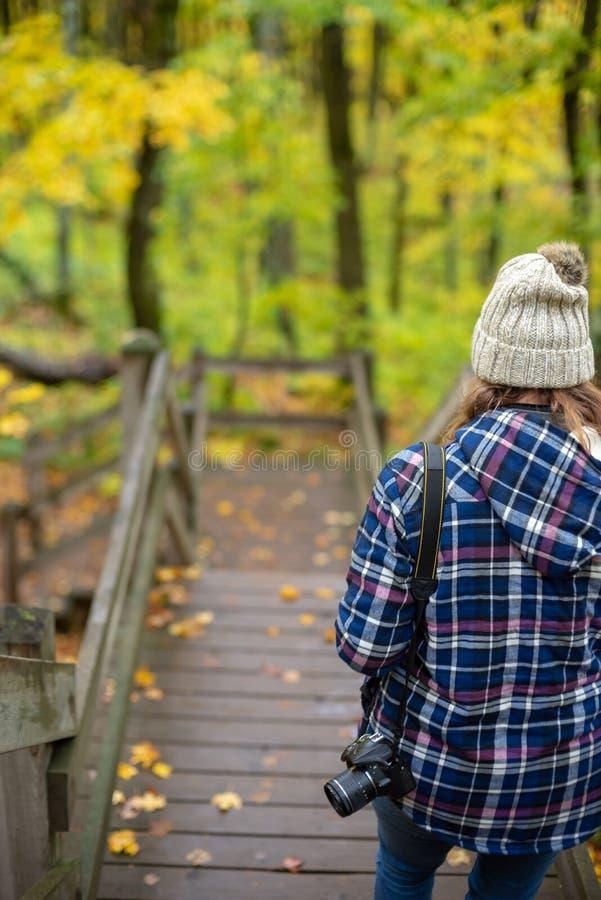 步行在porqupine山的人在秋天 免版税库存图片