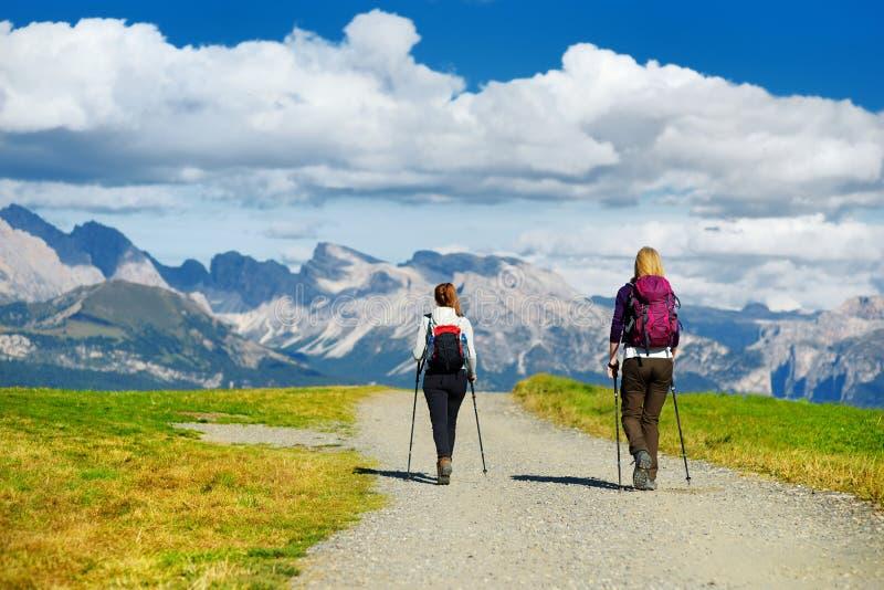 步行在Seiser Alm,最大的高处高山草甸的游人在欧洲,在背景的惊人落矶山脉 免版税图库摄影