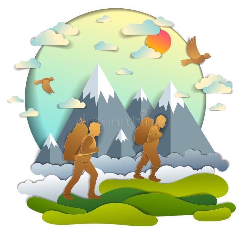 步行对与山脉、活跃人、父权和生长少年的儿子的自然的父亲和儿子男性 ?? 皇族释放例证