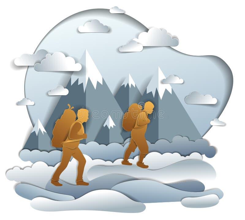步行对与山脉、活跃人、父权和生长少年的儿子的自然的父亲和儿子男性 ?? 库存例证