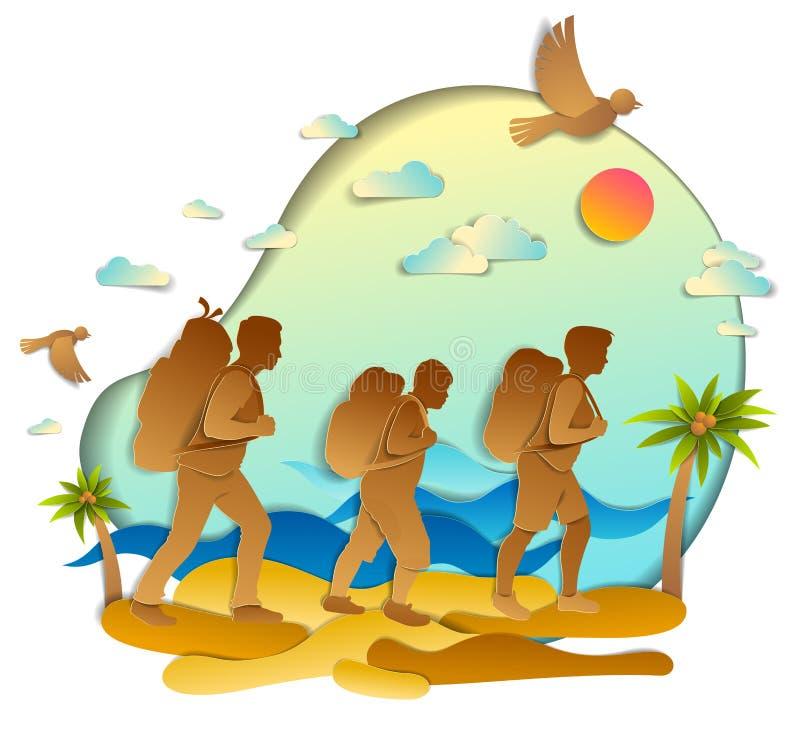 步行对与海海浪的狂放的海滩的年轻活跃家庭和棕榈、父亲、母亲和儿子 传染媒介例证美丽 皇族释放例证