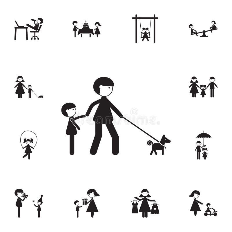 步行父亲有孩子的和有狗象的 详细的套家庭象 优质质量图形设计标志 一co 皇族释放例证