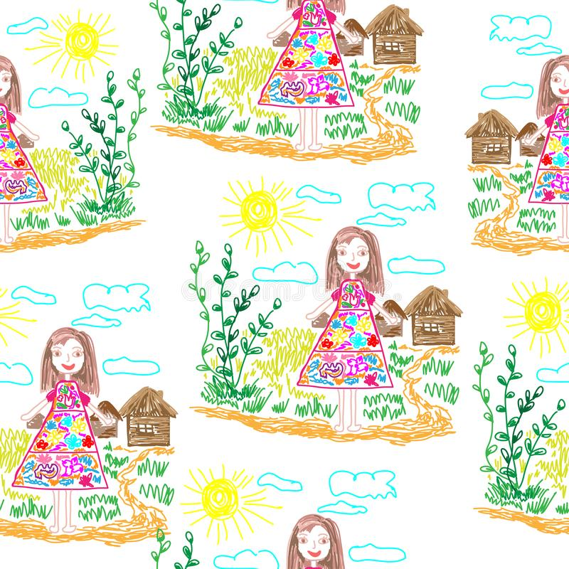 步行的儿童的画的无缝的样式女孩 向量例证