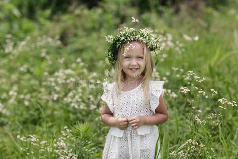 步行的女孩在一个明亮的夏日 一女孩的画象有春黄菊花圈的在她的头的 免版税库存图片