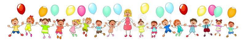 步行的孩子与气球 皇族释放例证