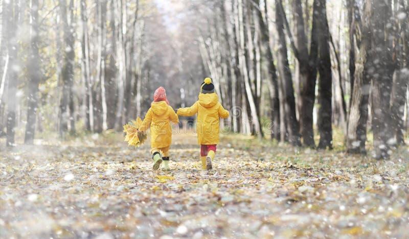 步行的小孩在秋天停放 第一霜和第一 免版税库存图片