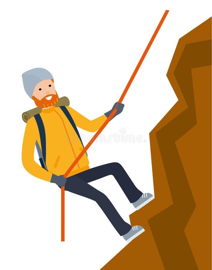步行的登山人,游人攀登在绳索的一个岩石 库存例证