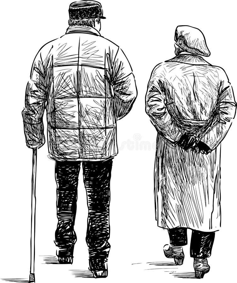 步行的年长夫妇 向量例证