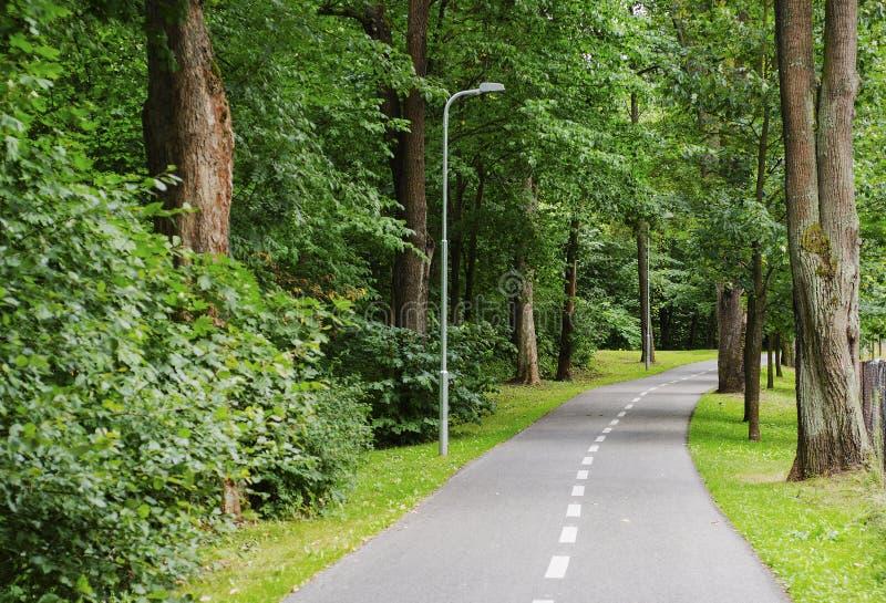 步行者和骑自行车者的走道在城市公园 库存图片