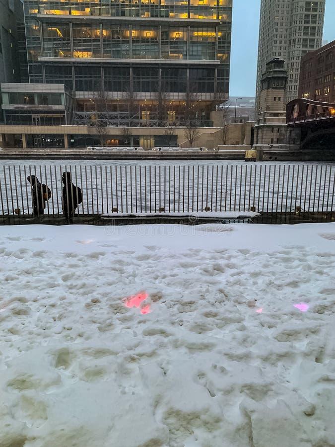 步行者被包反对寒冷和雪步行沿着冻芝加哥河 库存图片