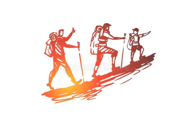 步行者,旅游业,旅行,人们,夏天概念 手拉的被隔绝的传染媒介 向量例证