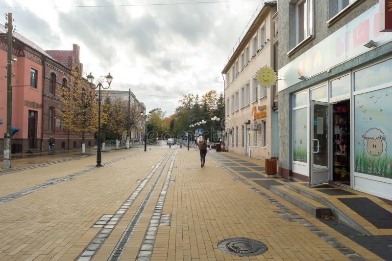 步行街道在Zelenogradsk镇  免版税库存图片