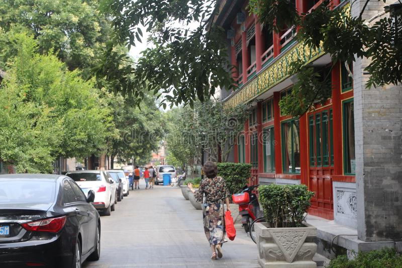 步行街道Lyulichan在街市北京 库存图片
