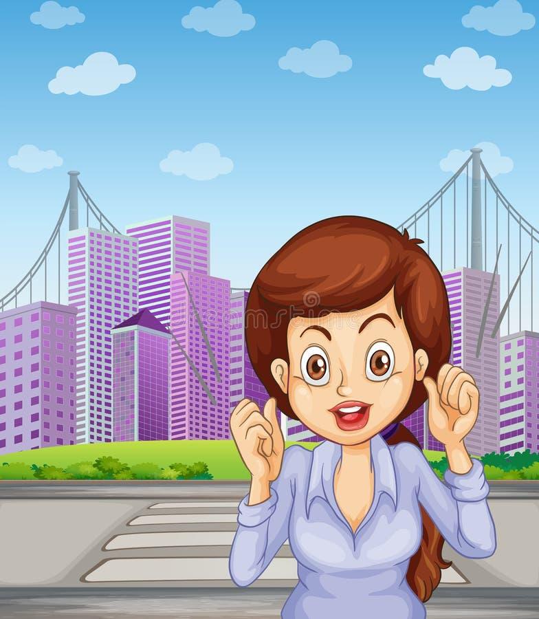 步行车道的长发女实业家 向量例证