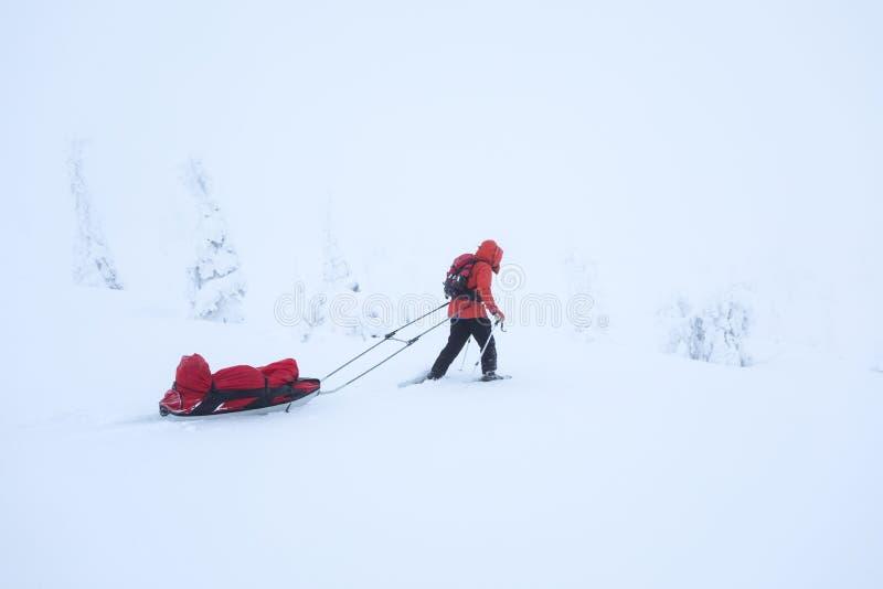 步行通过与雪鞋子的新鲜的雪的妇女 免版税库存图片