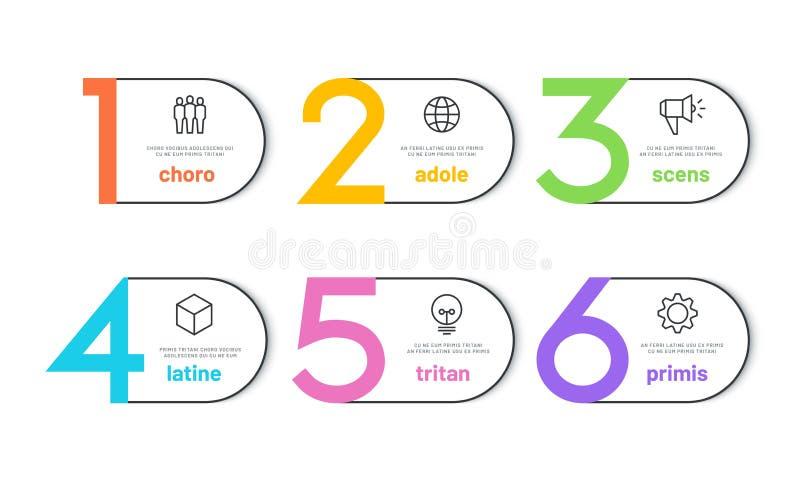 步infograph 6个选择企业时间安排日历,组织工作流图,财务数字infochart 向量 皇族释放例证