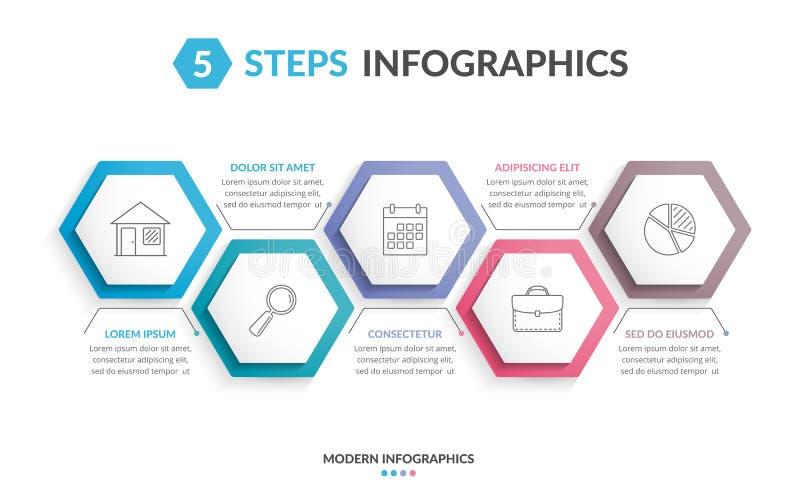 5步infographics 库存例证