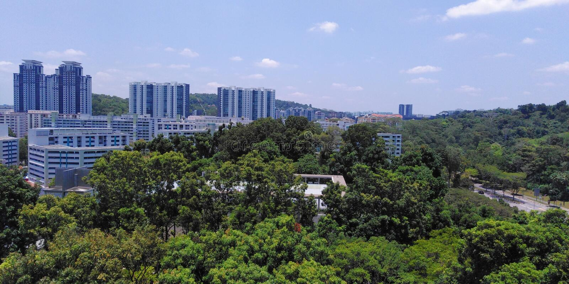 武吉巴督镇和自然公园鸟瞰图  免版税库存图片