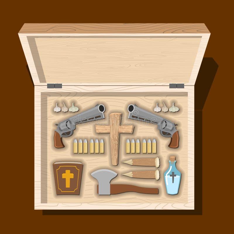 武器吸血鬼猎人 反对不死的工具木箱的 Garl 库存例证